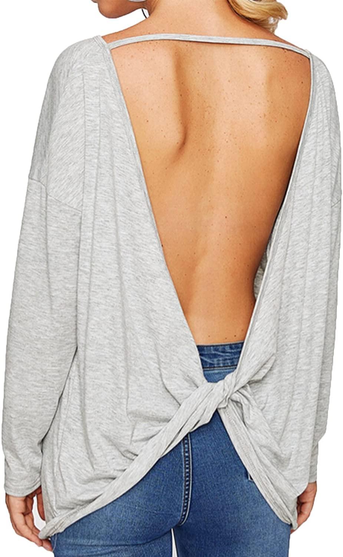 Women's Drop Shoulder Long Sleeve Twist Open Back Backless Casual Pullover Top Blouse