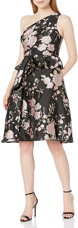 Adrianna Papell Womens One Shoulder Jacquard Dress
