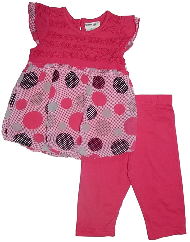Buster Brown Little Girls Ruffled Circle Pattern Tunic and Leggings