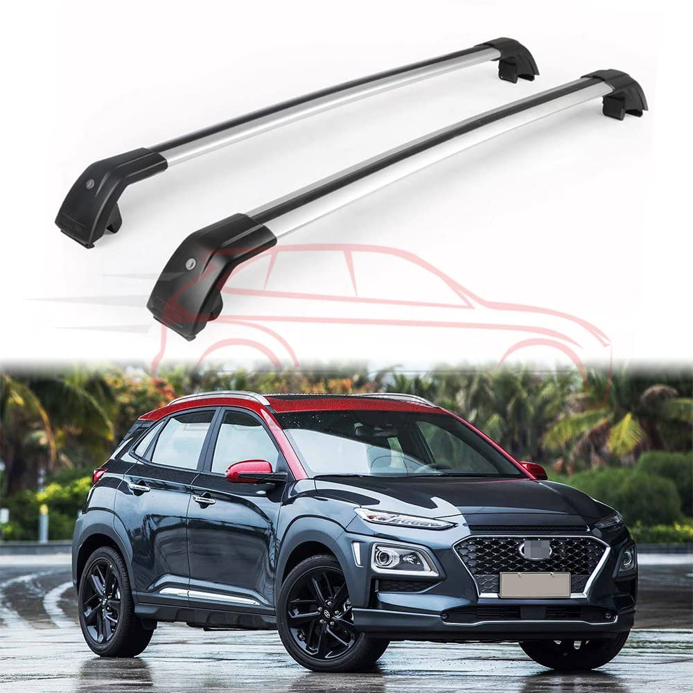 KPGDG 2Pcs Fit for Hyundai New Kona 2018-2020 Lockable Cross Bars Roof Racks Baggage Luggage Racks - Silver
