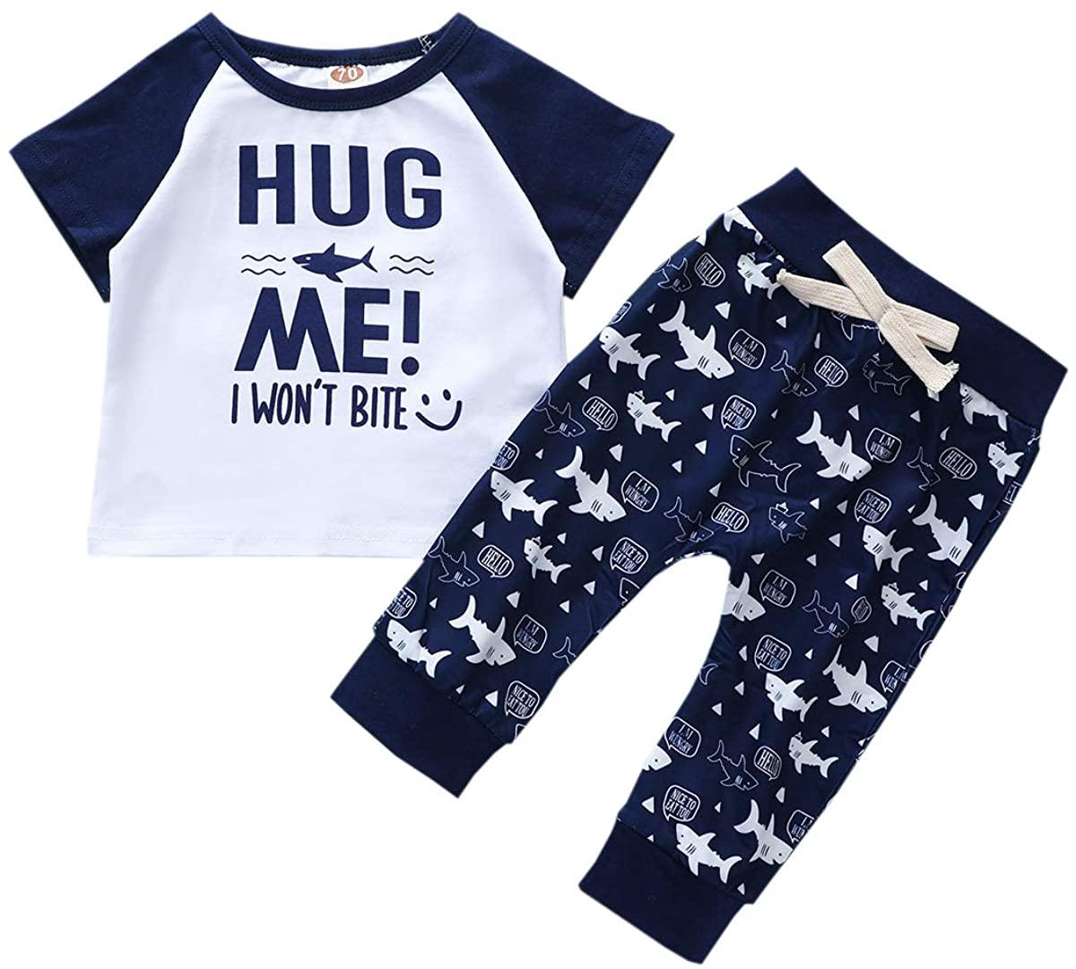 Toddler Baby Boy Pants Set Cute Short Sleeve Tops Pants 2Pcs Summer Clothes Set