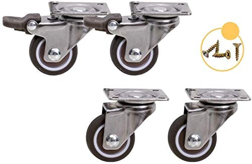 Castors (pack of 4) 1 inch 1.25 inch universal wheel with brake wheel mute wear-resistant furniture fittings