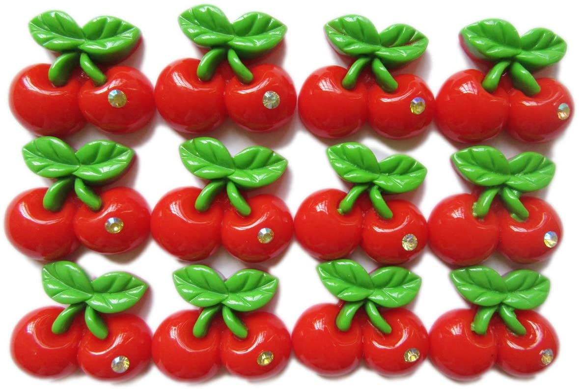 YYCRAFT 30pcs DIY Cherry Resin Flatback Charms Applique for Scrapbooking Embellishment