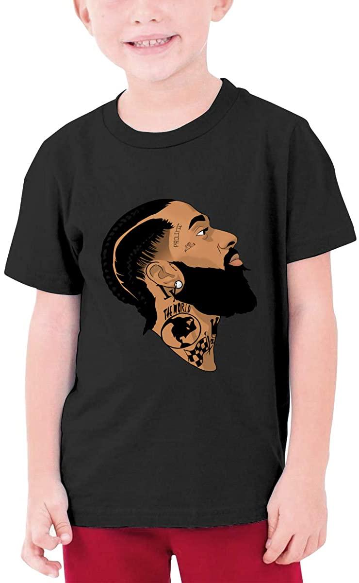 Nip.Sey+Hu-Ssle Portrait Side Face Pattern Unisex Youth T-Shirt Boys Girls T-Shirt