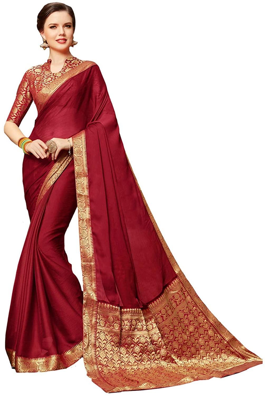 Indian Saree for Women Ethnic Sari Maroon Vichitra Silk Sari with Unstitched Blouse. ICW2785-4