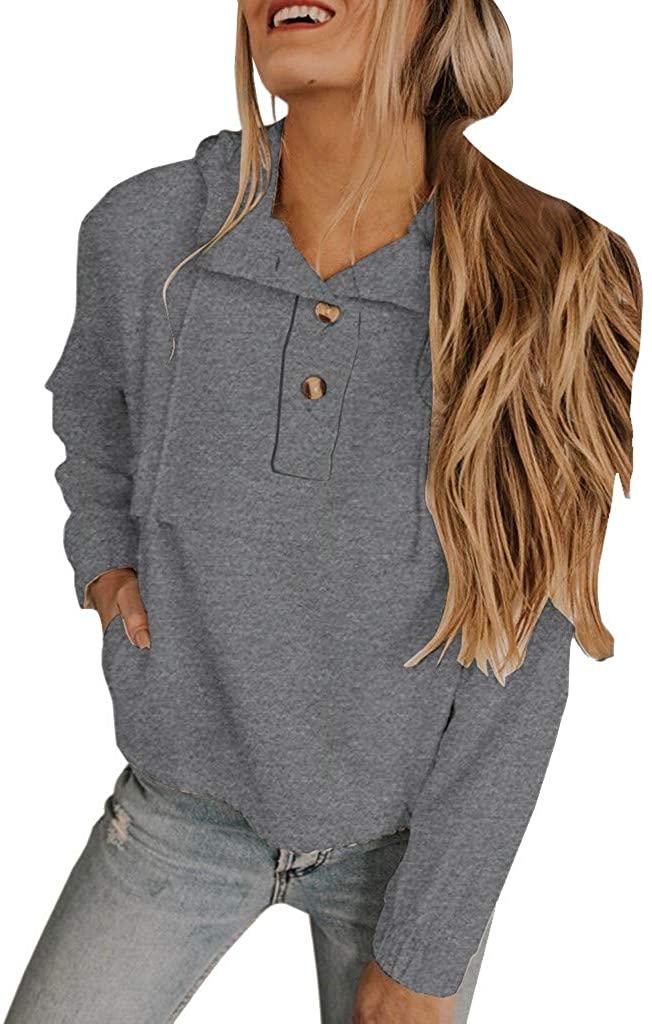 ZEFOTIM Women Sweatshirt, Women's Short Sweatshirt Solid Button up Neck Long Sleeves Drawstring Hoodie