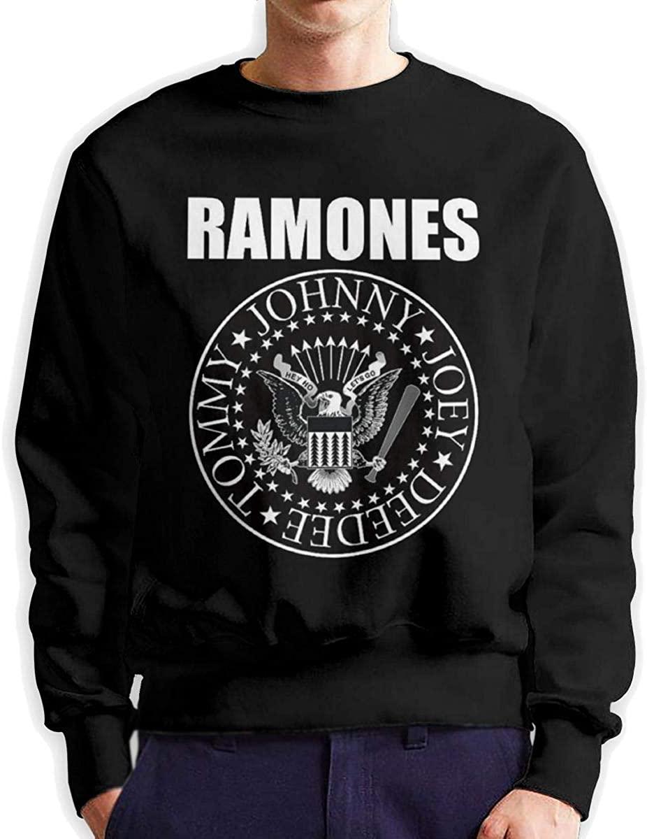 NarcNton Ramones Men's Winter Sweatshirt Cotton Blend Pullover Black