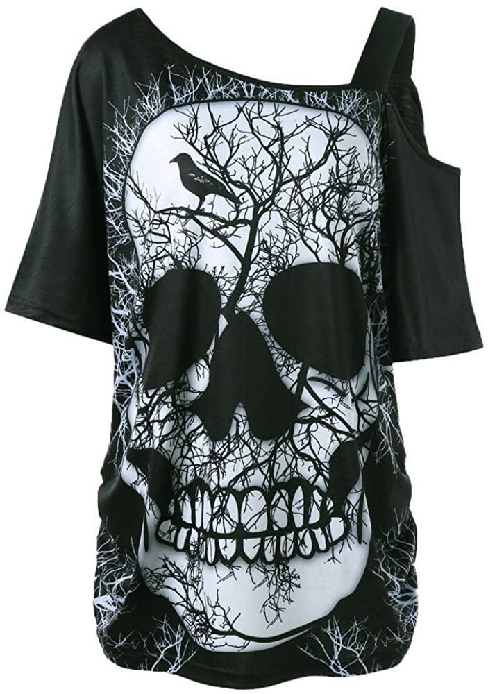 TOTOD Women Tops - Fashion Plus Size Lace Skull Printed Asymmetric Hollow Out Tank Shirt Vest
