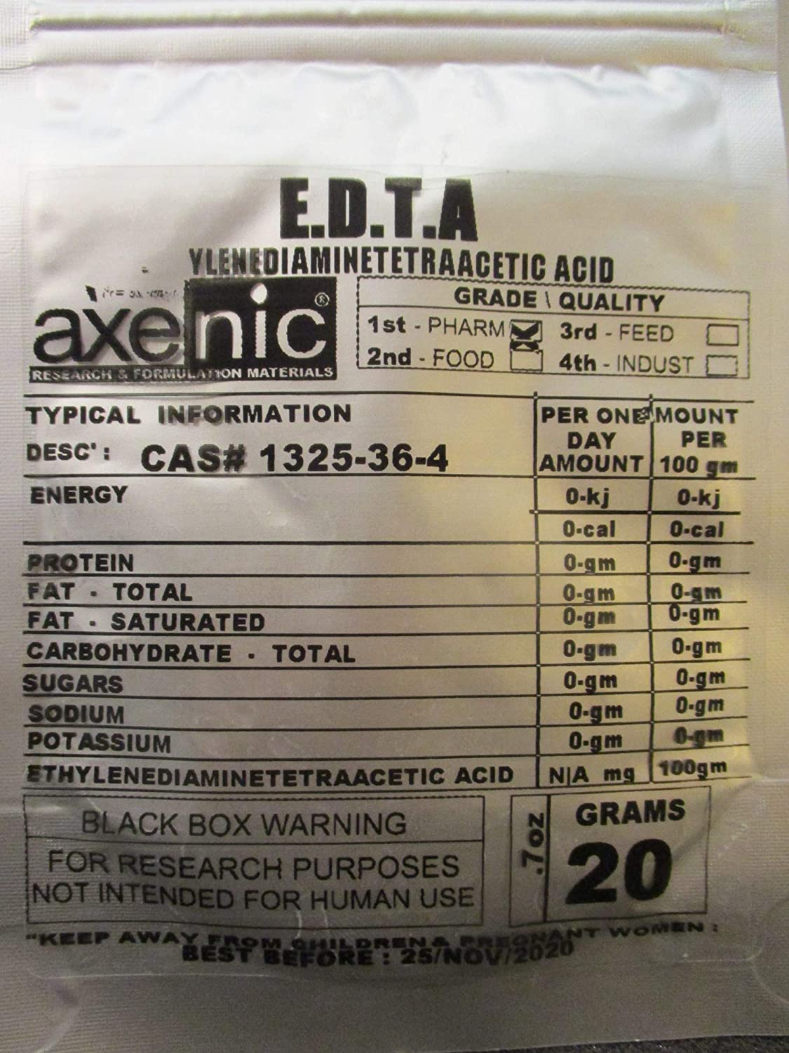 100gm Ethylenediaminetetraacetic Acid tetrasodium Salt ≥99.9% EDTA Powder
