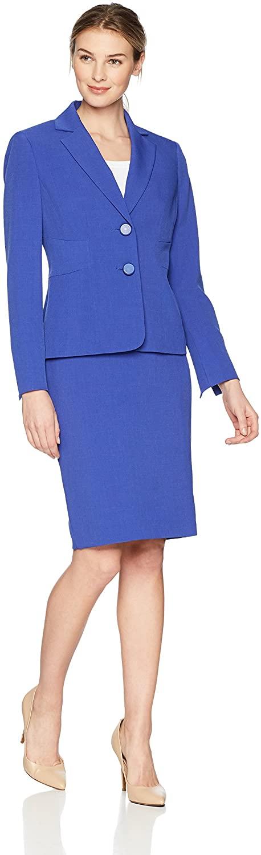 Le Suit Women's Crepe 2 Bttn Notch Lapel Skirt Suit