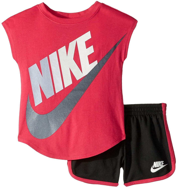 Nike Kids Baby Girl's Futura Short Sleeve T-Shirt and Shorts Set (Toddler) Black 2T Toddler