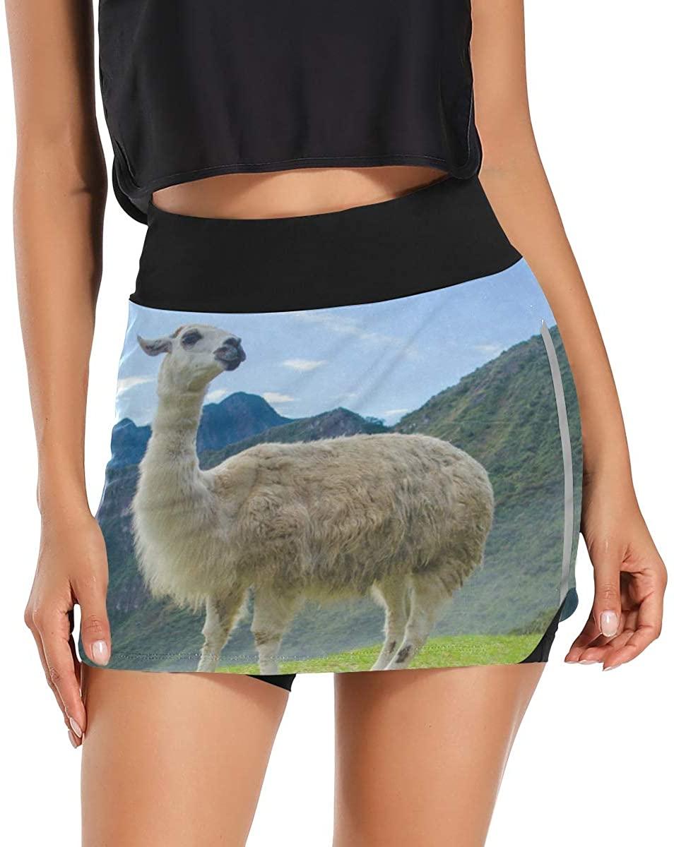 Women's Golf Skirts Wild Lama Glama Skorts Tennis Skirts Pockets Inner Biker Shorts Casual