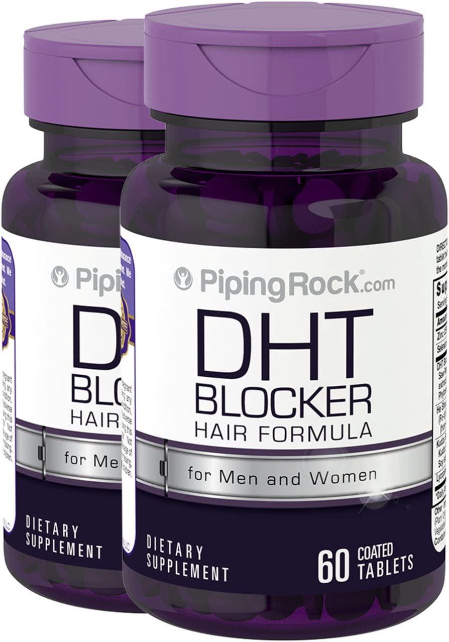 Piping Rock DHT Blocker Hair Formula for Men & Women 2 Bottles x 60 Coated Tablets Dietary Supplement