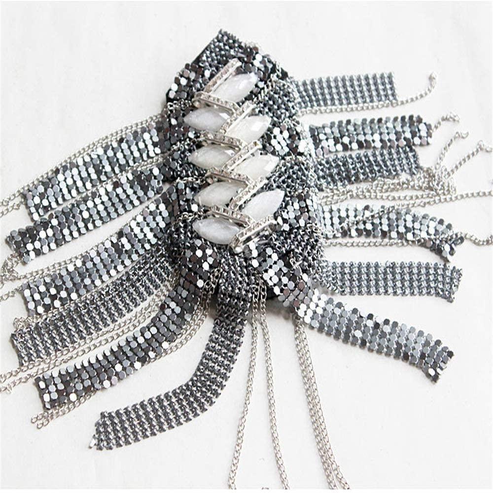 Accessories Epaulettes 2 PCS Unisex Gold Punk Fringe Shoulder Vintage Rhinestone Tassel Chain Metal Epaulet Shoulder Boards Badge Costume Uniform Ceremony Accessories For Men Women ( Color : Silver )