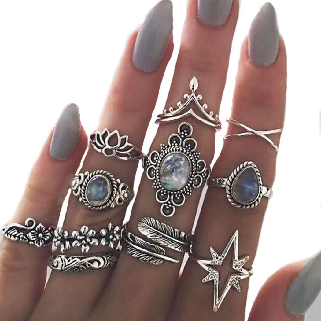 Nicute Silver Rhinestone Stackable Joint Knuckle Ring Vintage Carving Finger Rings Set for Women and Girls(11 Pieces)