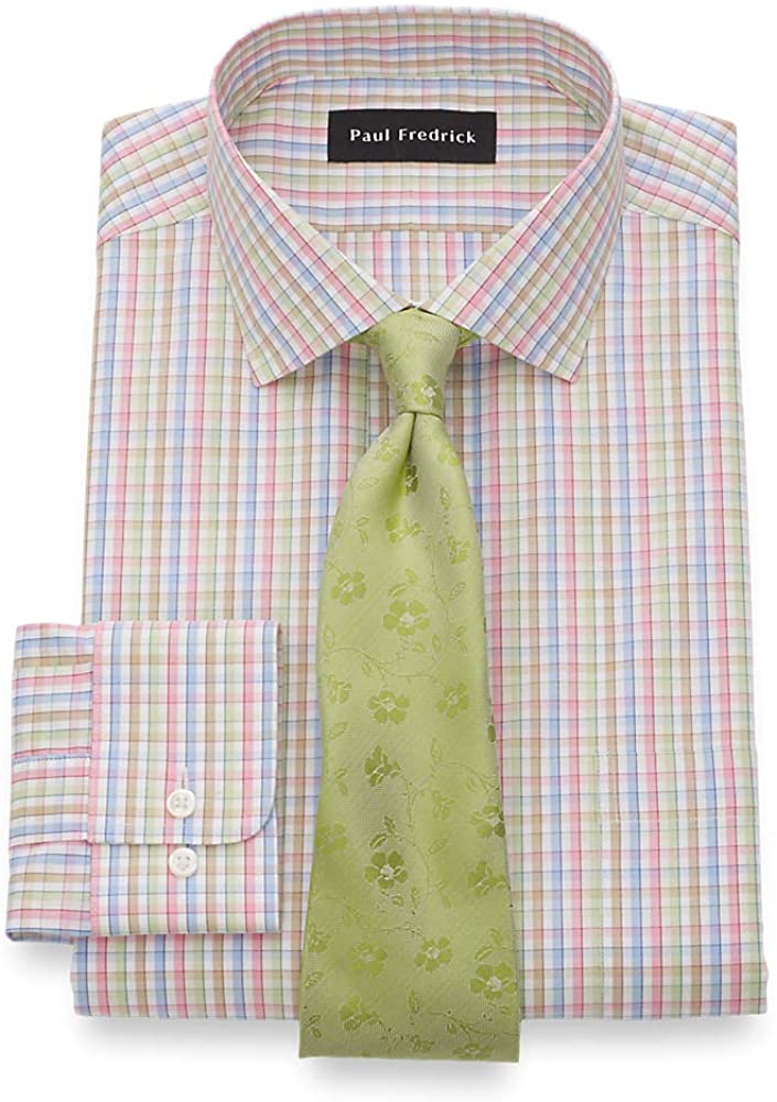 Paul Fredrick Men's Classic Fit Non-Iron Cotton Tattersall Dress Shirt