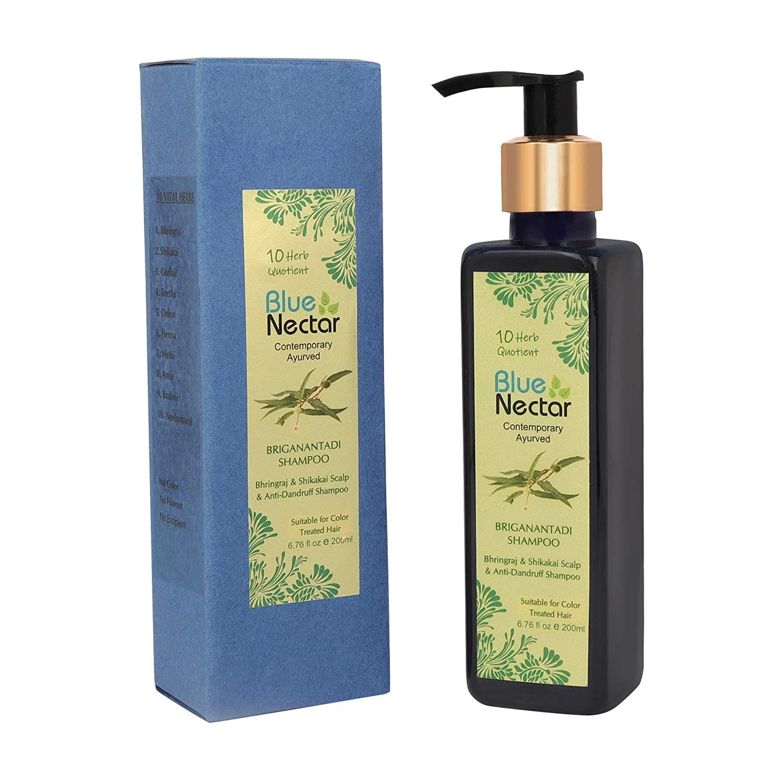Blue Nectar Anti Dandruff and Healthy Scalp Hair Cleanser Shampoo with Bhringraj, Shikakai, Suitable for Colored Hair, Dry Frizzy Hair (6.7 oz)