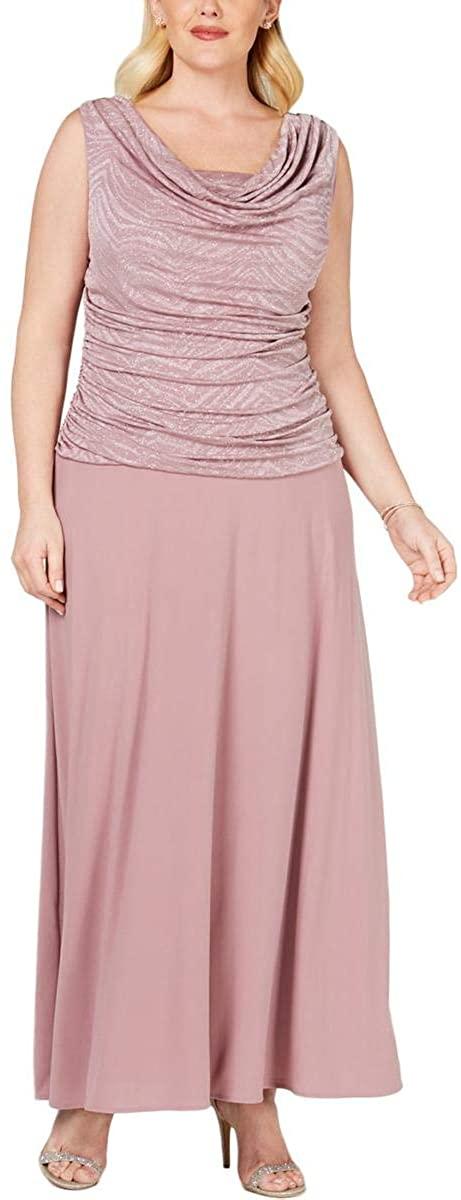 R&M Richards Womens Plus Metallic Full-Length Evening Dress