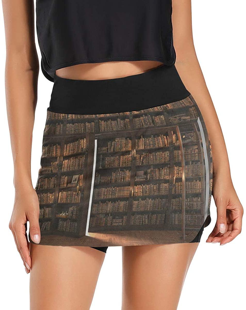Skorts Skirts for Women Secret Door in The Bookcase Bookshelf Tennis Skirts with Pockets Inner Biker Shorts Training