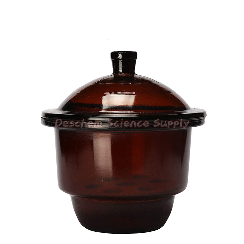 Deschem 120mm,Amber Glass Desiccator Jar,12cm Lab Brown Dessicator Dryer
