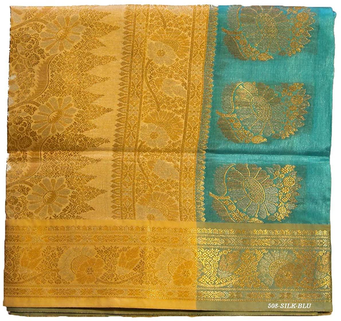 Pure Silk Saree for Women Kanchipuram Kanjivaram Pattu Sari Handloom Banarasi Silk Tussar Silk Mysore Silk Blue