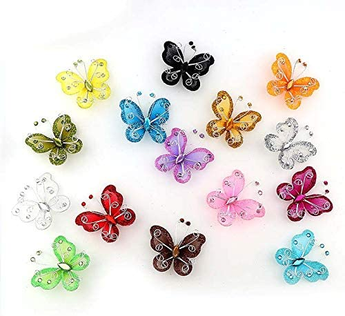 Tegg Butterfly Decoration 20PCS Glitter Rhinestone Organza Wire Butterflies Craft Table Scatter for Party Wedding Card Scrapbook Craft