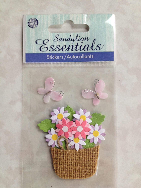 Sandylion Essentials Stickers Flowers, Butterflies, Burlap Basket