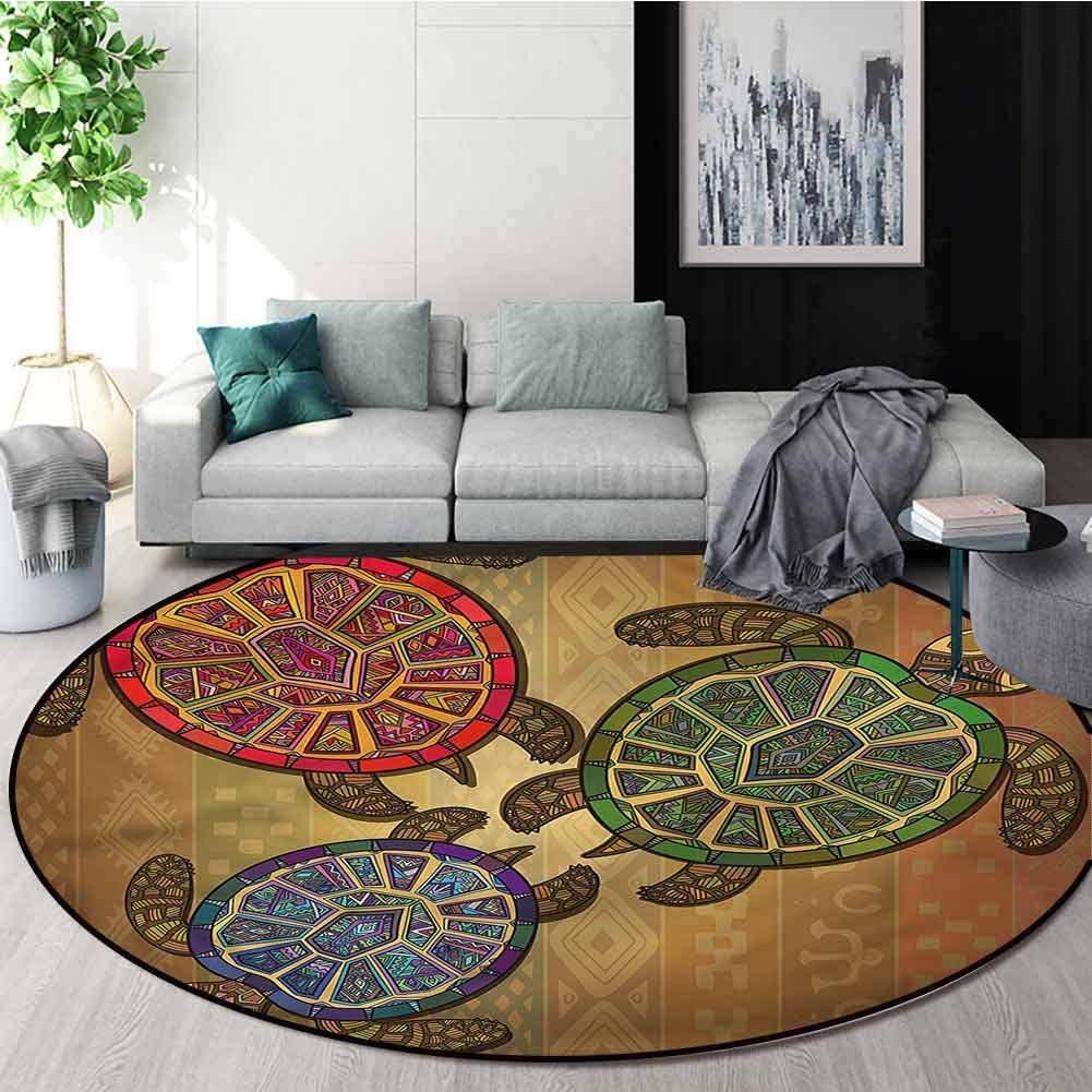 RUGSMAT Turtle Round Area Rug,Three Turtles Ornamental Pattern Floor Seat Pad Home Decorative Indoor Round-59