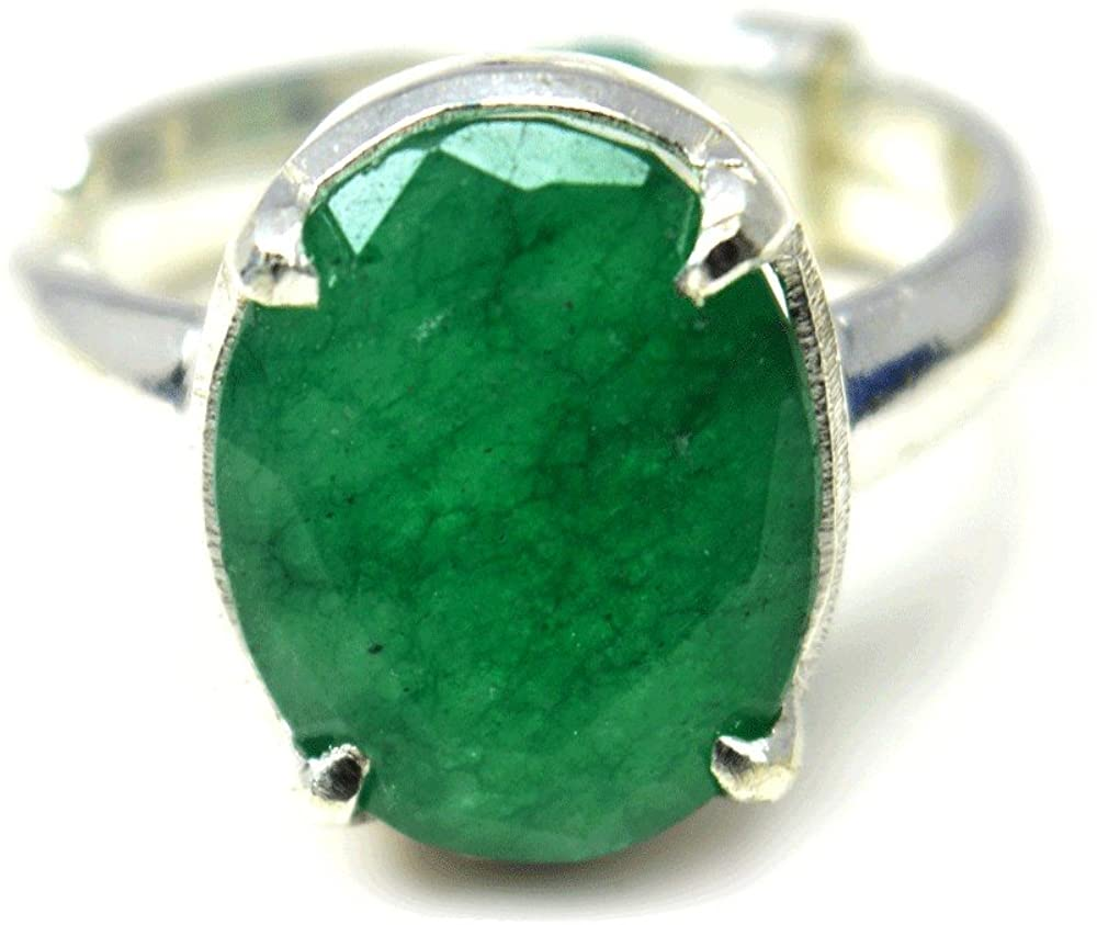 55Carat Natural Emerald Silver Ring for Women 6 Carat Birthstone Adjustable Size 5,6,7,8,9,10,11,12,13