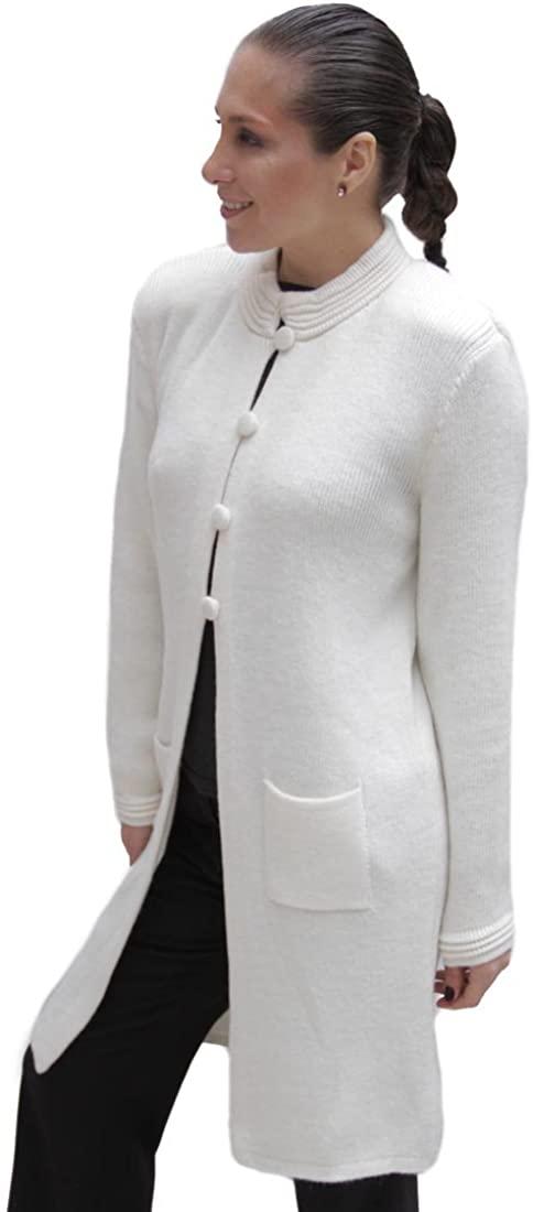 Women's Soft Alpaca Wool Four-Button Knitted Cardigan Long Coat Sweater