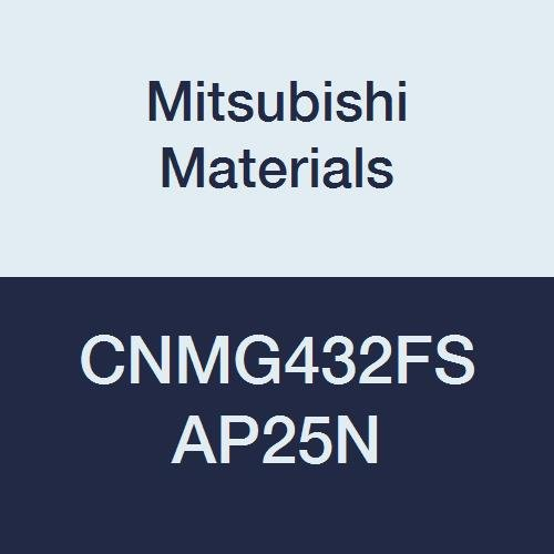 Mitsubishi Materials CNMG432FS AP25N Cermet CN Type Negative Turning Insert with Hole, Coated, Rhombic 80°, Grade AP25N, 0.5
