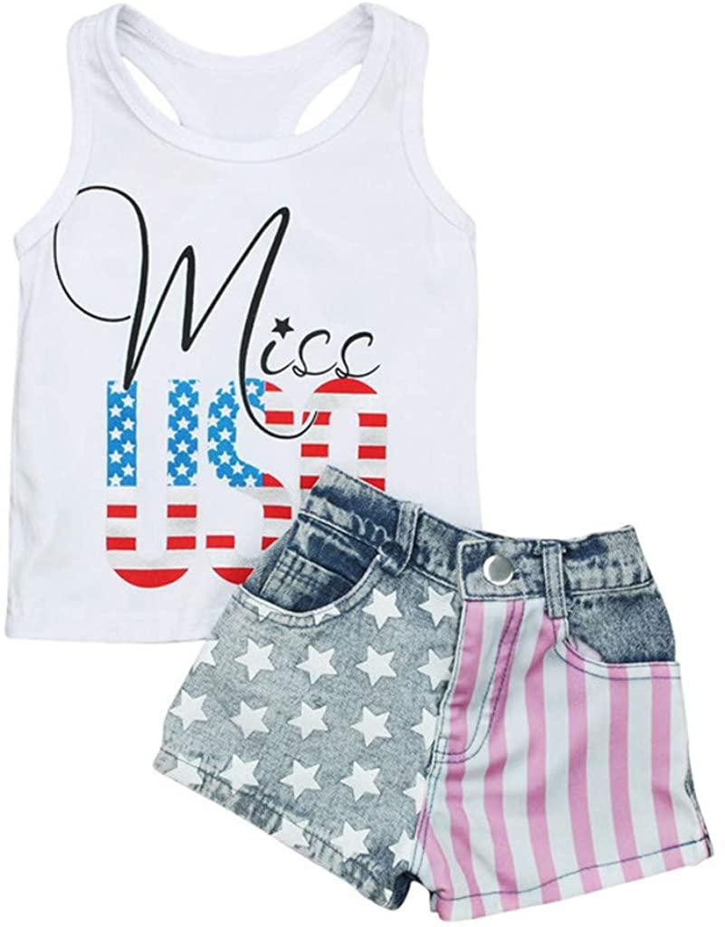 Clothing Sets for Toddler Infant Boys Girls Letters American Flag Printed Top Vest + Short Outfits Sets (6M-4Y)