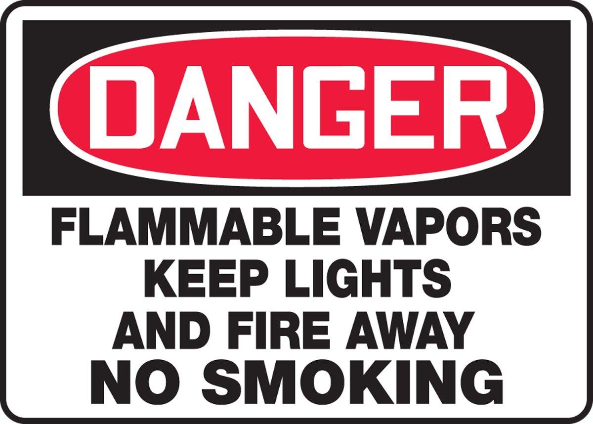 FLAMMABLE VAPORS KEEP LIGHTS AND FIRE AWAY NO SMOKING