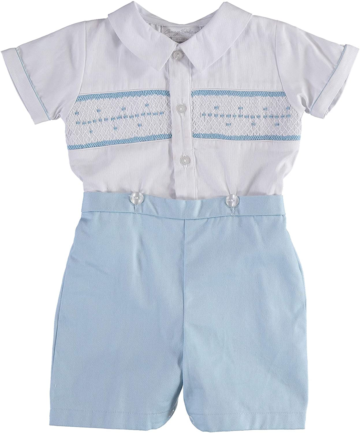 Boys Short Romper Set White Shirt and Attached Blue Shorts Bobbie Suit with Hand Smocking