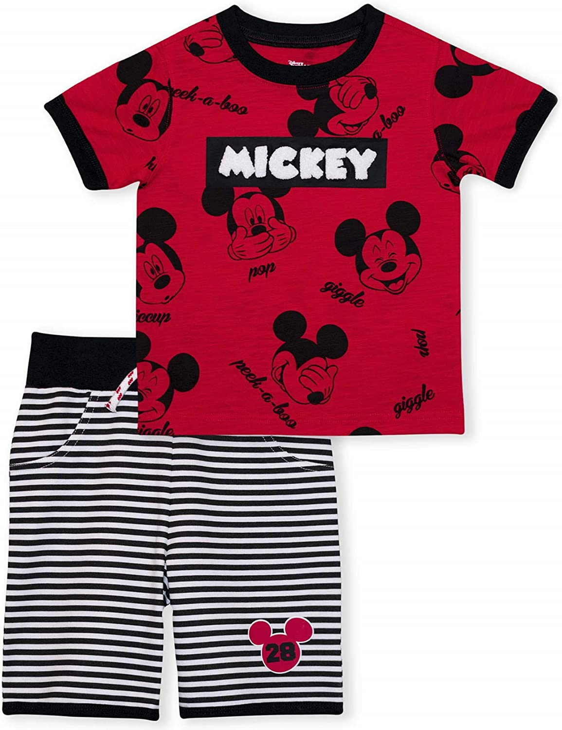 Mickey Mouse Short Sleeve Shirt and Shorts Outfit Set for Babies and Toddlers