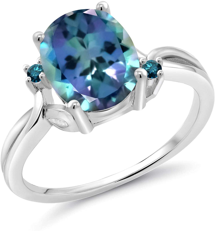 Gem Stone King 3.03 Ct Oval Millennium Blue Mystic Topaz Blue Diamond 925 Sterling Silver Ring