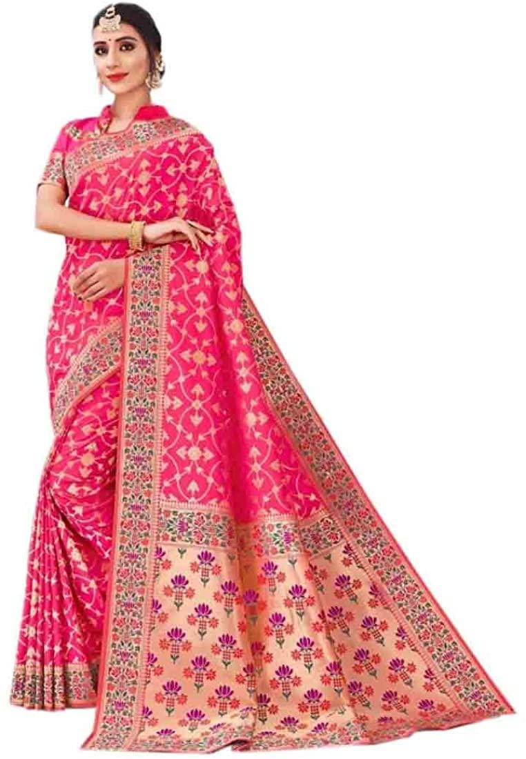 Dark Pink Wedding Party Wear Heavy Border Silk Sari Indian Saree Blouse Muslim Dress 9875B