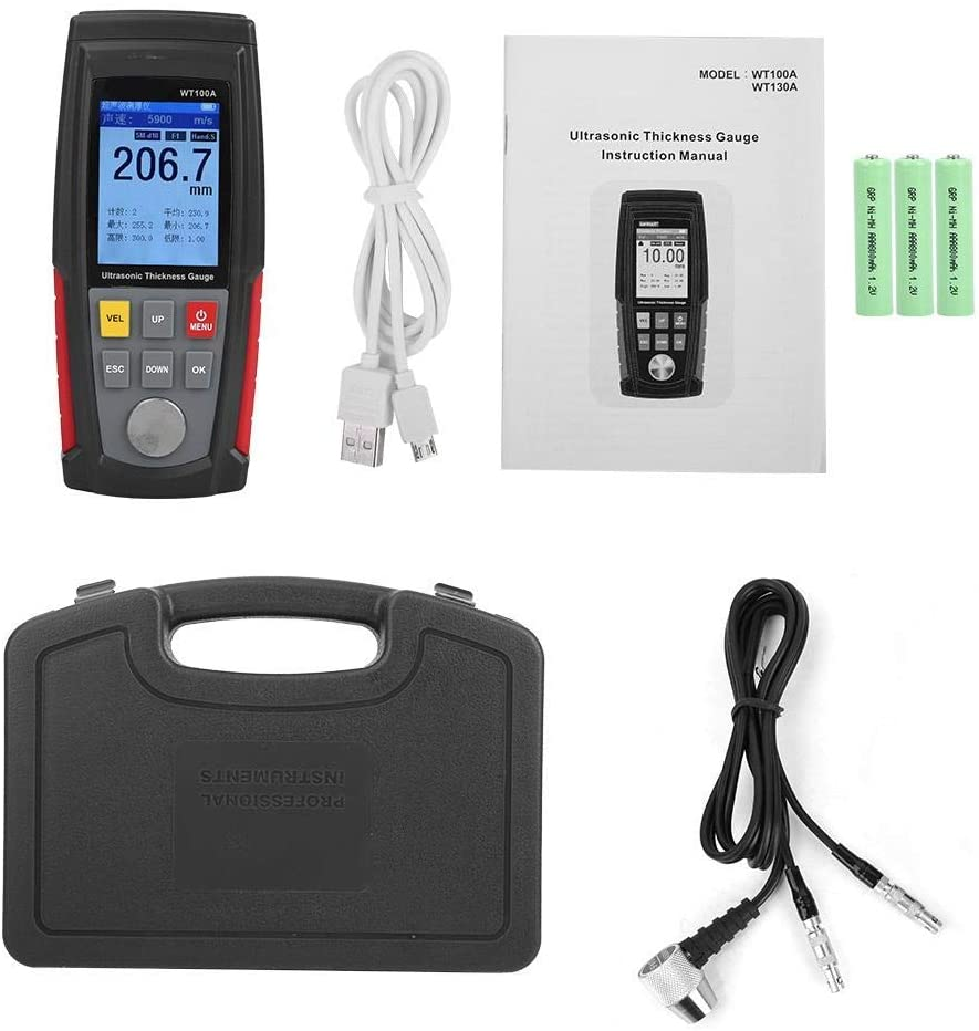 DSY Thickness Gauge Meter, WT100A High Precision Digital Ultrasonic Thickness Gauge Meter Tester USB Charging