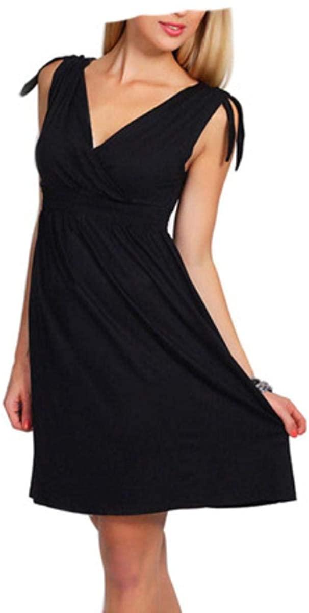 Fantastic Baby Summer Maternity Dresses V-Neck Breastfeeding for Pregnant Women Pregnancy Clothing,Black,L
