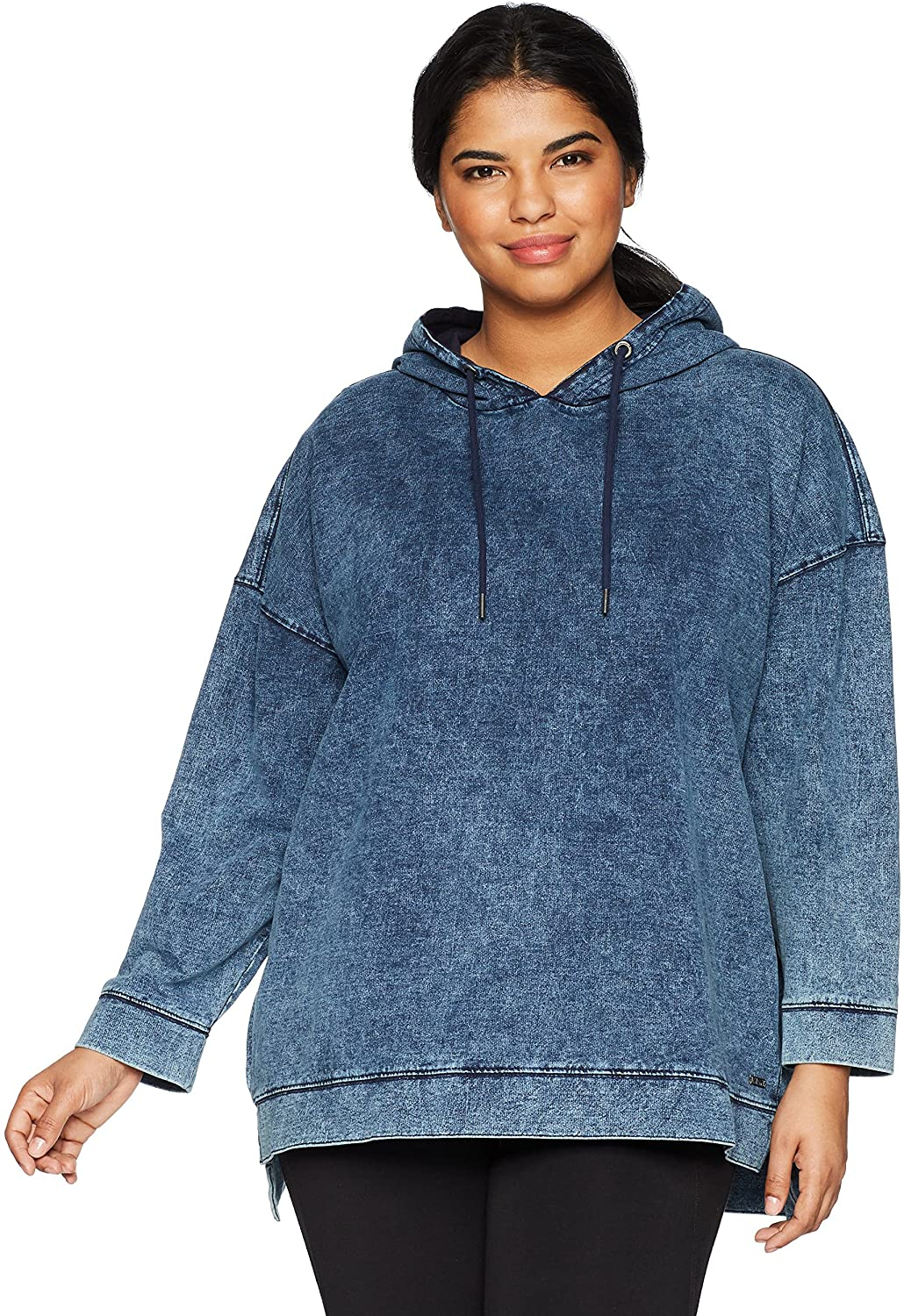 Marc New York Performance Womens Plus Size Denim Hooded Pullover