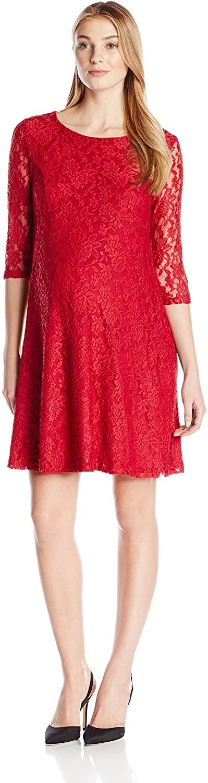 Three Seasons Maternity Women's Maternity 3/4 Sleeve Lace Skater Dress