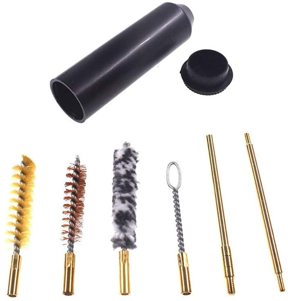 JSPOYOU Tube Brush/Pocket Mini Brush Set 9mm Pocket Size Pistol Cleaning Kit 7pc Black