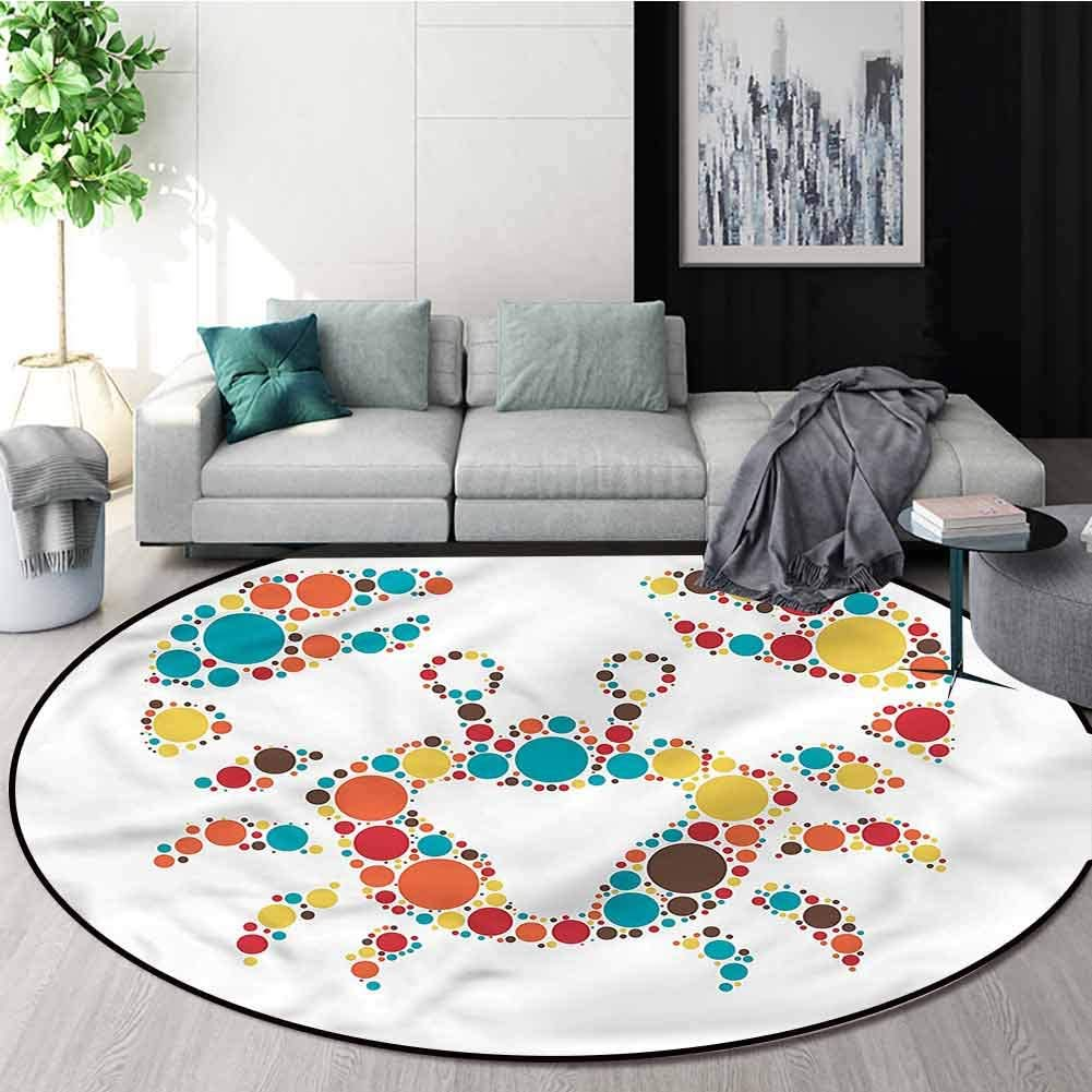 RUGSMAT Crabs Round Rug Kid Carpet,Colorful Dotted Shape Protect Floors While Securing Rug Making Vacuuming Round-55