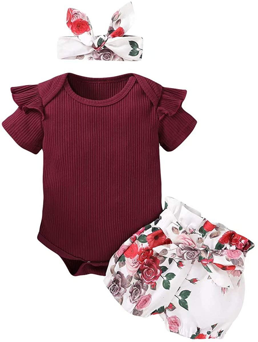 Baby Girl Clothes Summer Outfits Newborn 3Pcs Infant Romper Short Tops + Pants + Headbands