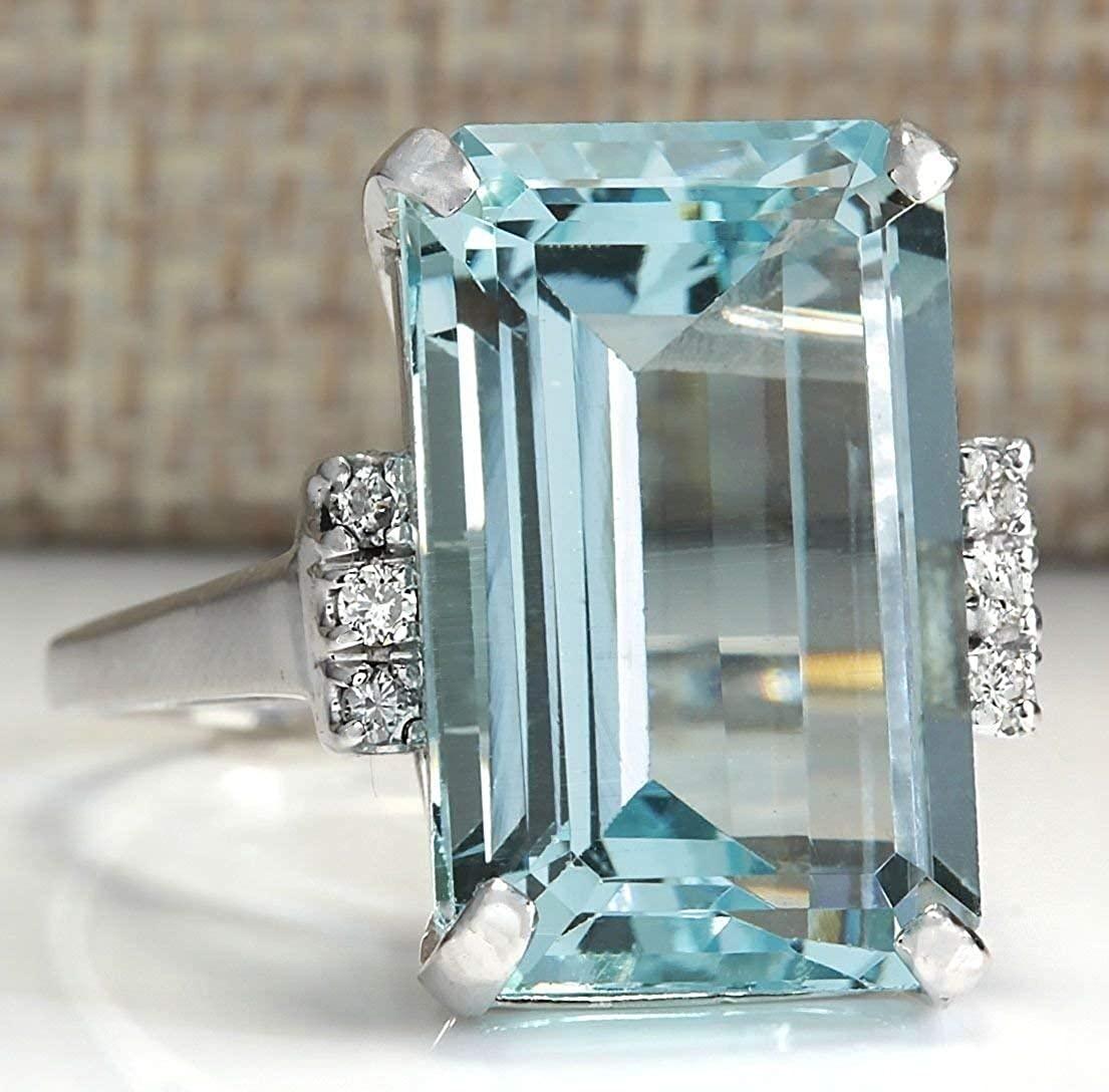 Vintage Women 925 Sterling Silver Aquamarine Gemstone Ring Wedding Jewelry Gift