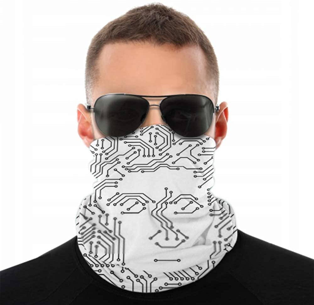 Headbands For Men Women Neck Gaiter, Face Mask, Headband, Scarf Printed Circuit Board Black White Computer Turban Multi Scarf Double Sided Print Elas