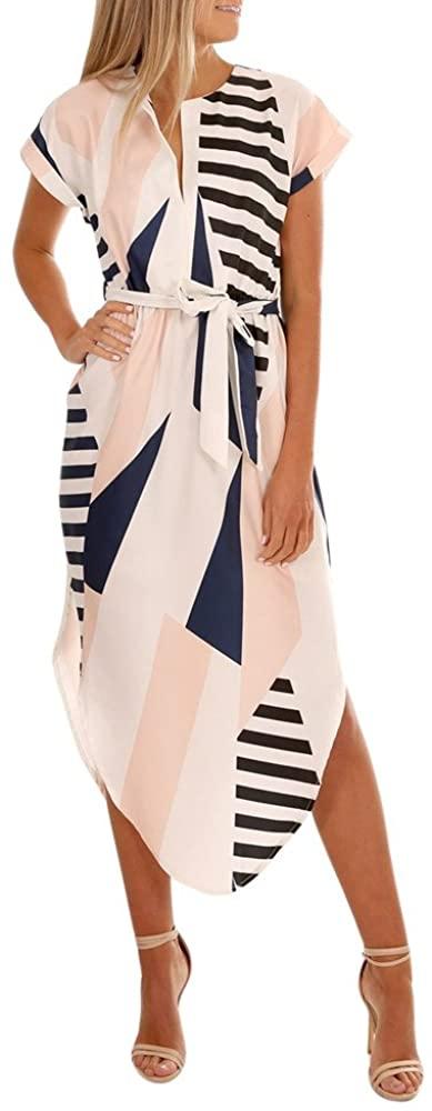 Adeliber New Summer Women's Casual Short-Sleeved Fashion V-Neck Print Long Dress with Belt