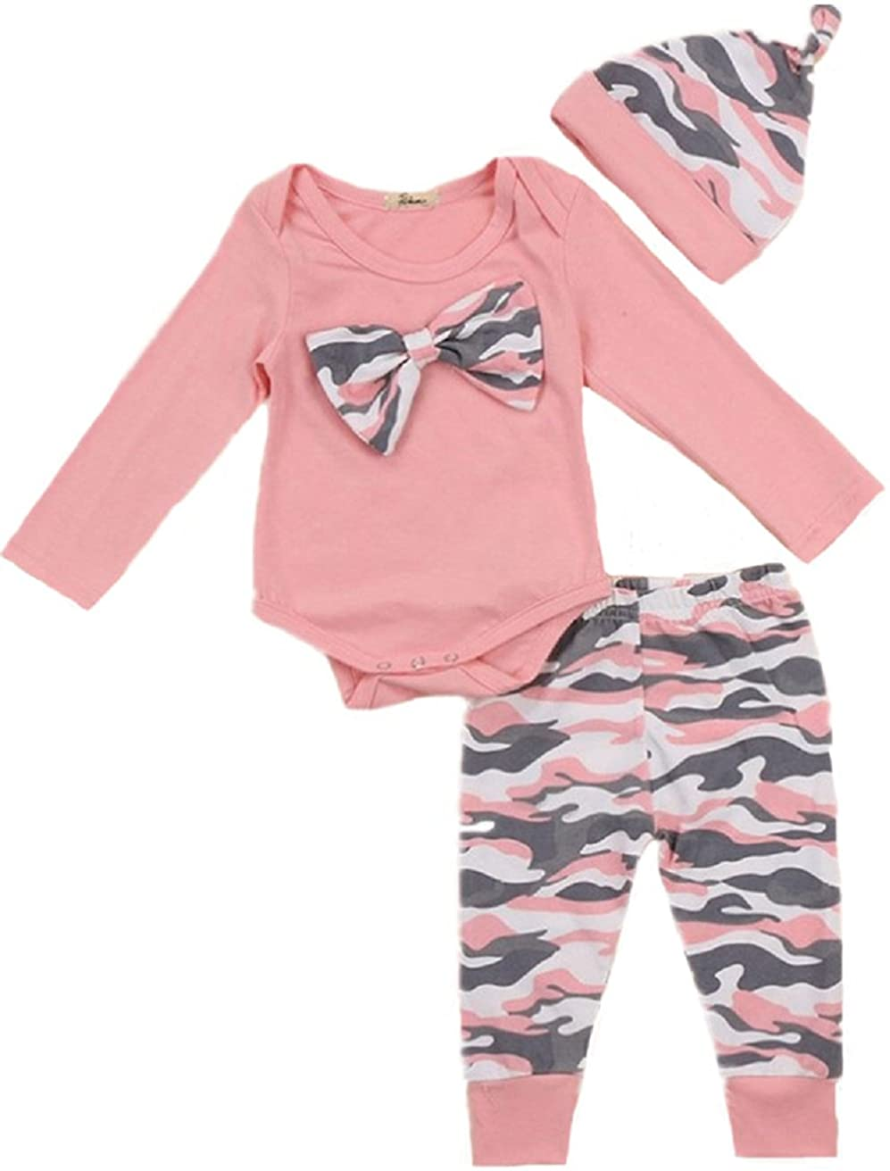 Baby Girl Clothes Set New Born Toddler Girl Long Sleeve Romper Camouflage Pant Hat 3 Pieces Outfit Set