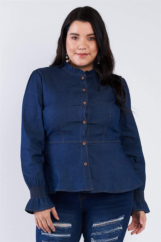 Shop & Buy Plus Size Denim Blue Vintage Front Button Sleeve Jean Peplum Top
