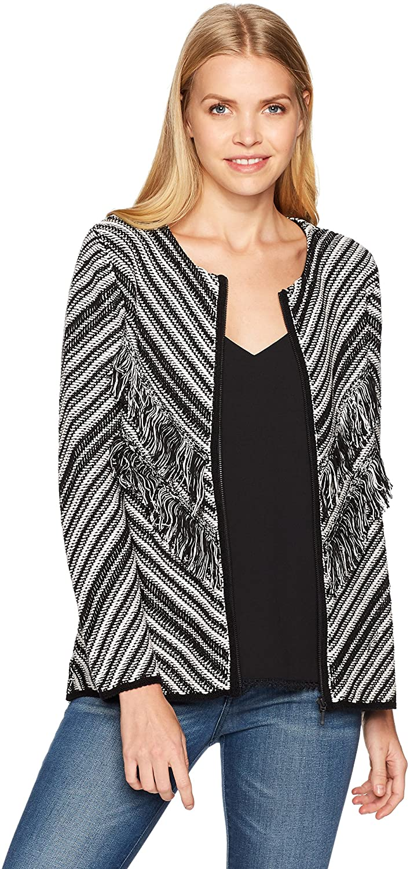 NINE WEST Women's Zip Front Printed Knit Sweater